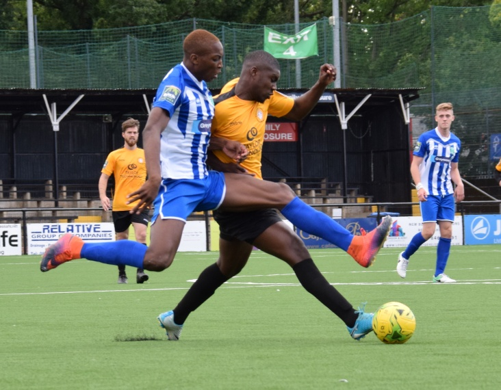 Laurent Mendy launches into the challenge Ben Mundele