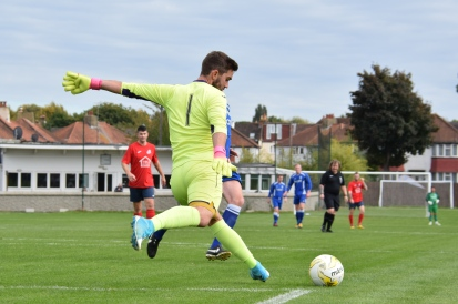 Charlie Lusty takes a goal kick (both feet off the floor which is one of my photography loves...)
