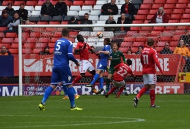 Tyler Harvey gets a header on target...