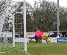 ...but makeshift 'keeper Aaron Bentley is equal to it.
