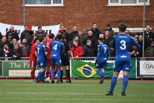 Lewes players demand a red card