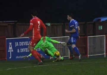 Rob Brown saves from Max Blackmore