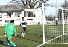 Timmy Abraham pokes the ball into an open net