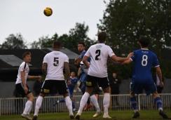 Max Blackmore flicks a header goalwards
