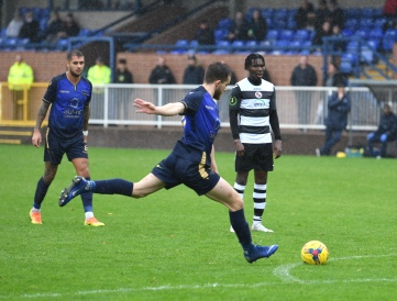 Bilal Sayoud hits the free kick