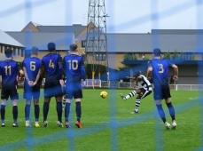 Marlon Agyakwa hits a free kick
