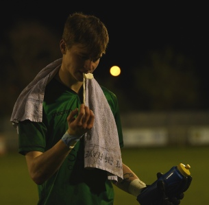 Rhys with his lucky towel, a gift from his coach at CB Hounslow United
