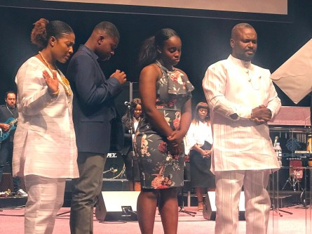 George's mother, brother, sister and father at their Pentecostal Church